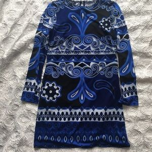 Inc dress with blue and black